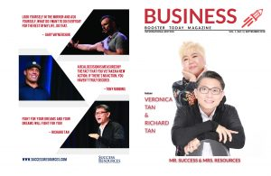 Richard and Veronica Tan from Success Resources on the cover and Gary Vee and Tony Robbins on the back cover of Business Booster Today Magazine